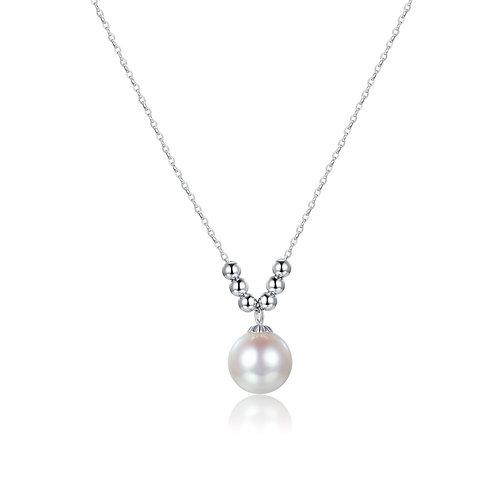 V for Vogue Pendant -18kt White Gold Akoya Pearl