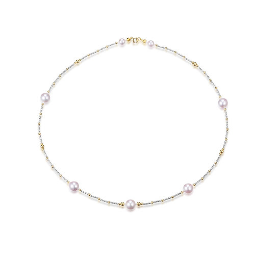 Simply Love Necklace - 18kt White Gold Akoya Pearl
