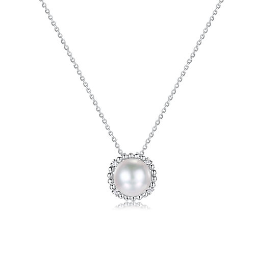 Royal Floral Diamond Pendant - 18kt White Gold Akoya Pearl