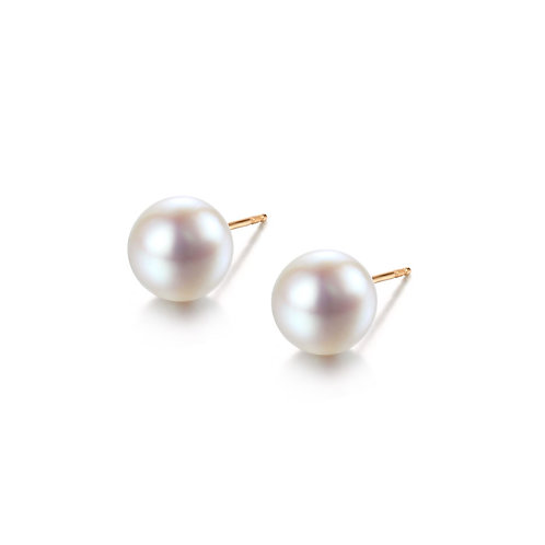 Classic Stud Earrings - 18kt Yellow Gold Akoya Pearl