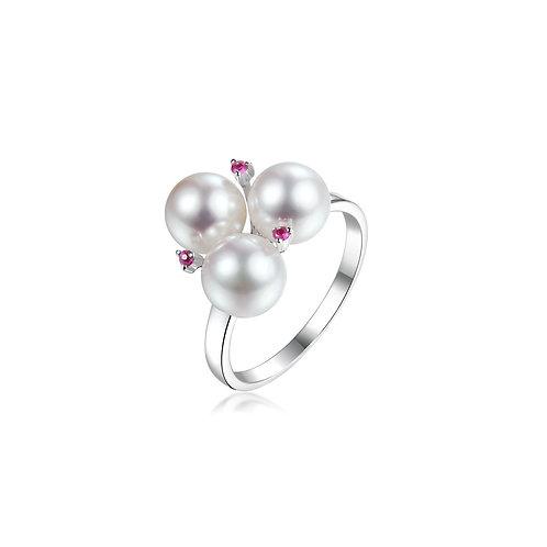 Blossom Tourmaline Ring - 18kt White Gold Akoya Pearl