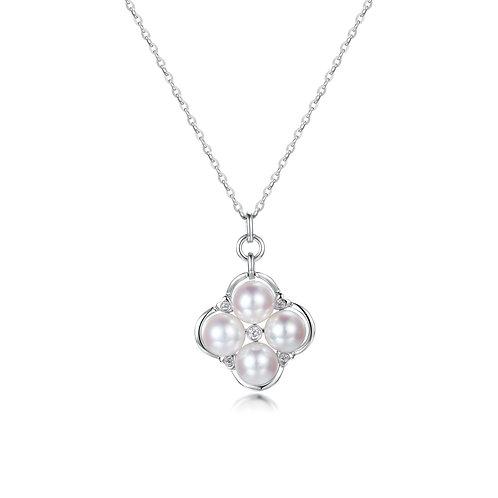 Clover Blessing Diamond Pendant - 18kt White Gold Akoya Pearl