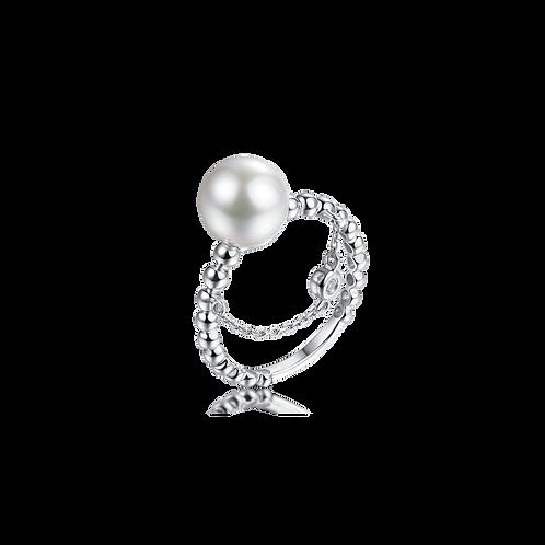 MODIEUS Diamond Ring - 18kt White Gold Akoya Pearl