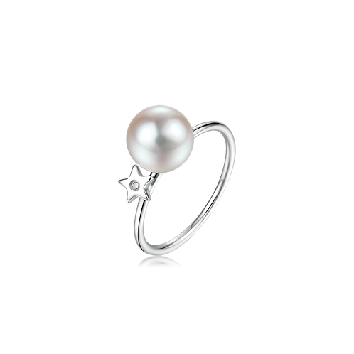 Subtle Star Diamond Ring - 18kt White Gold Akoya Pearl
