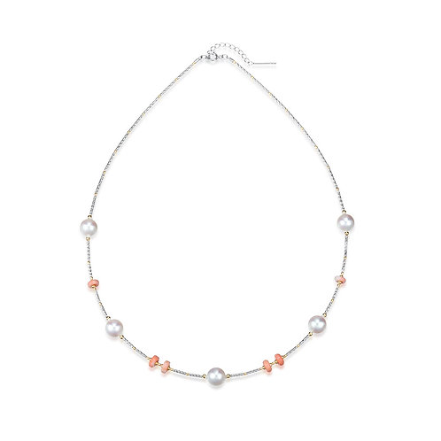 First Love of Coral Necklace -18kt White Gold Akoya Pearl Japan Coral