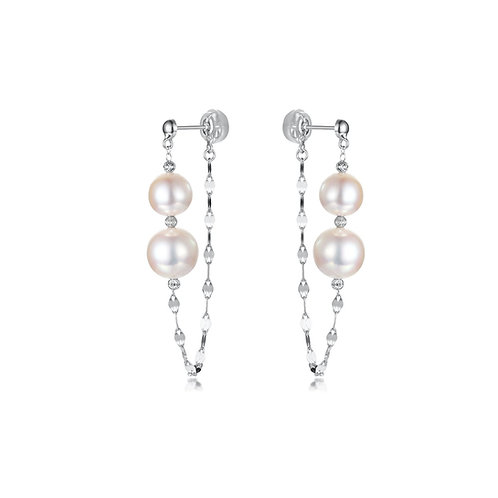 Dangling Ball Earrings - 18kt White Gold Akoya Pearl
