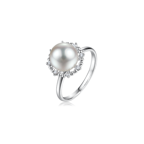 Royal Floral Diamond Ring - 18kt White Gold Akoya Pearl