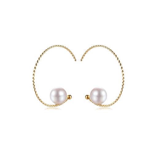 Luna Pierced Earrings - 18kt Yellow Gold Akoya Pearl