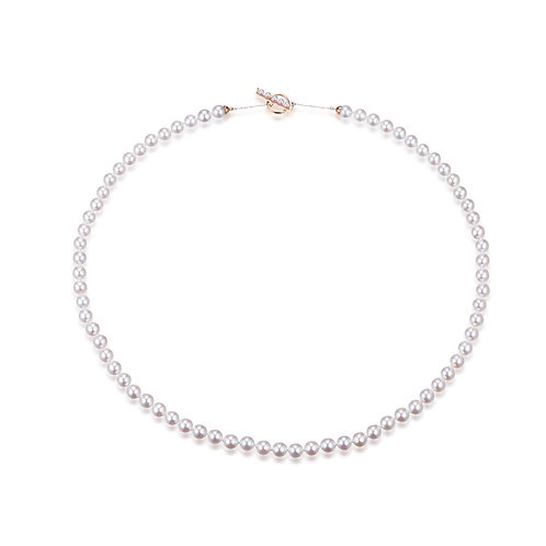 Gradient Classic Strand Necklace - 18kt Yellow Gold Akoya Pearl
