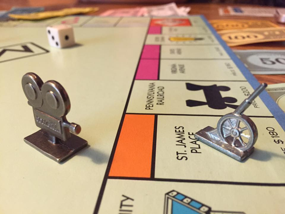 Movie camera on Chase's game piece, a canon / My Most Rousing Game of Monopoly. EVER! / www.HoneycombOasis.com