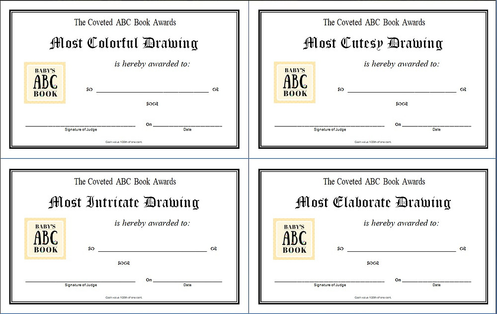 4 awards for ABC Book / ABC Book to Make at a Baby Shower / www.HoneycombOasis.com