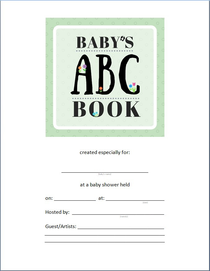 Blank cover for a clear-vue notebook / ABC Book to Make at a Baby Shower / www.HoneycombOasis.com