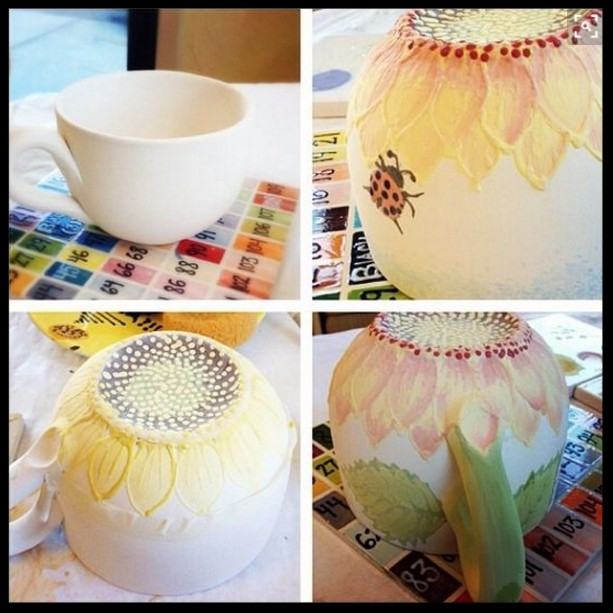 Prototype quad-pic of a sunflower mug / www.HoneycombOasis.com