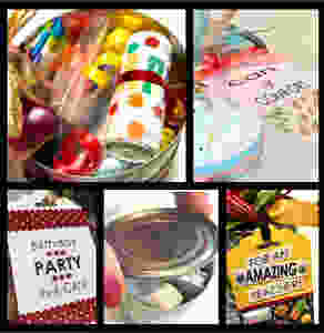 Collage of aspects of this post / Gift-in-a-Can: Fill, Seal, & Tag It  (Part 4) / www.HoneycombOasis.com