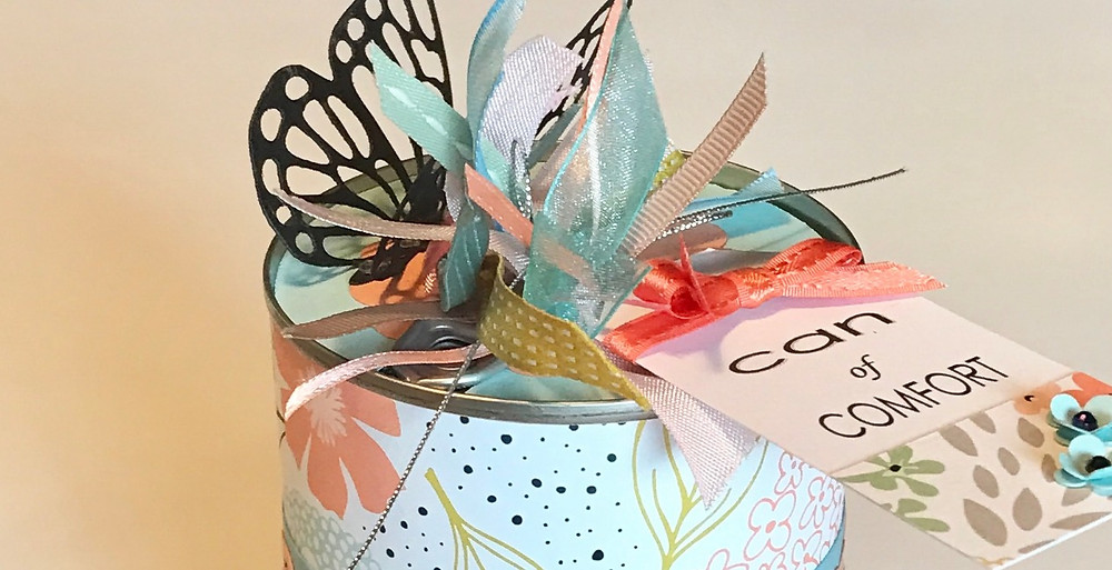 Top of Can of Comfort / Gift-in-a-Can: Decorating It  (Part 3) / www.HoneycombOasis.com