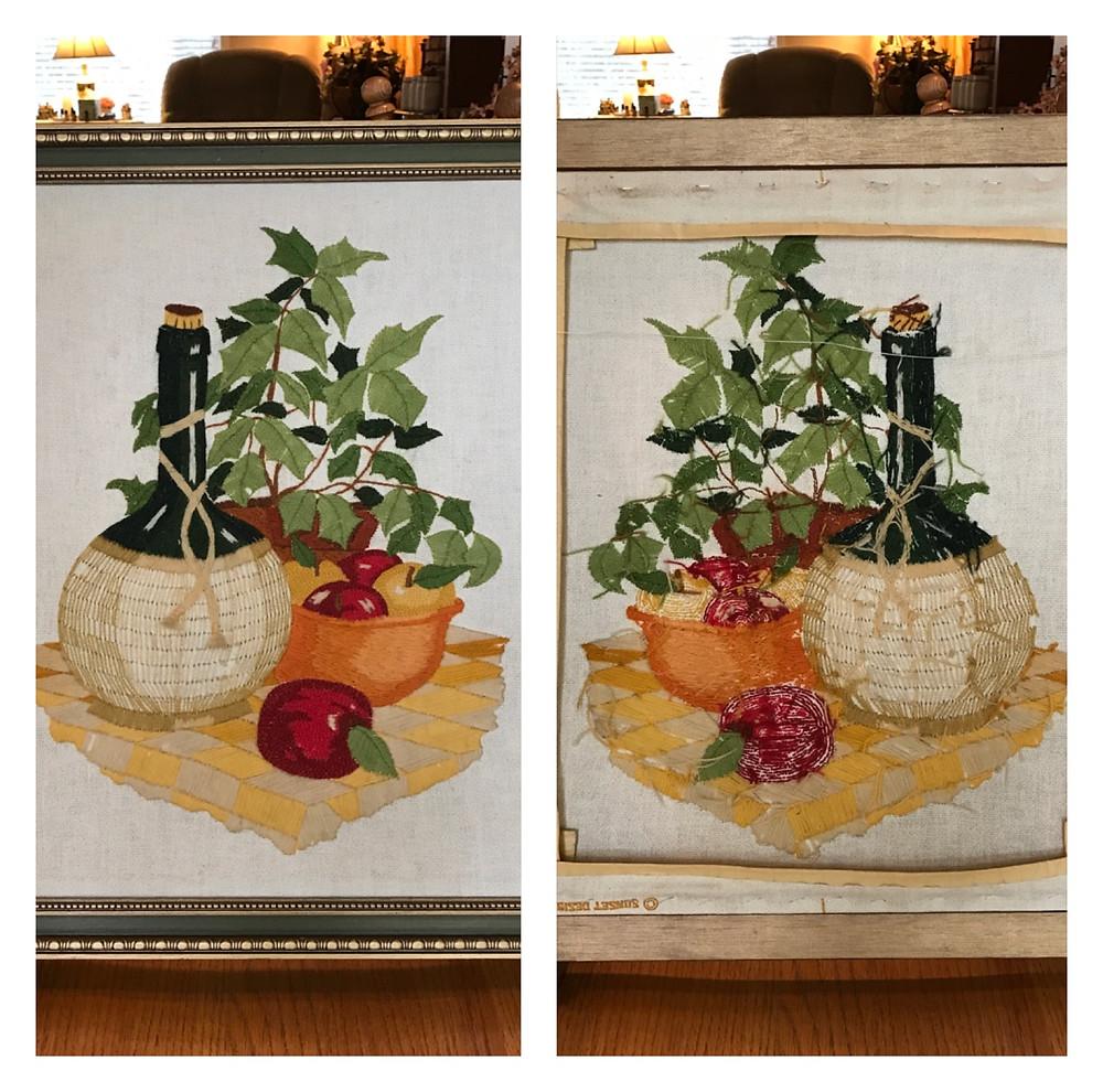 Front & Back of Wine bottle & apples stitchery / A Dozen Rosey Life Lessons / www.HoneycombOasis.com