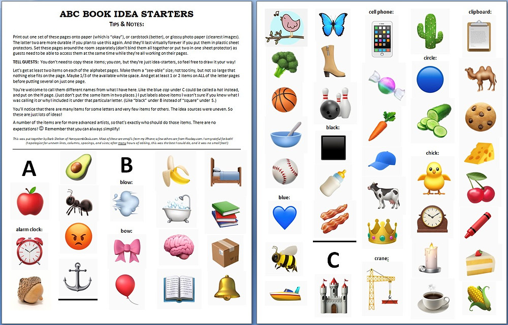 ABC Book Idea Starters A-C / ABC Book to Makeat a Baby Shower / www.HoneycombOasis.com