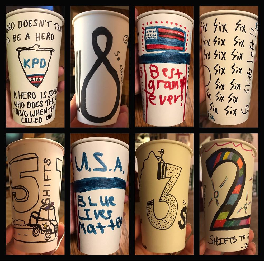 8 sample cups / Cop's Last Shift & Final Sign-off / HoneycombOasis.com