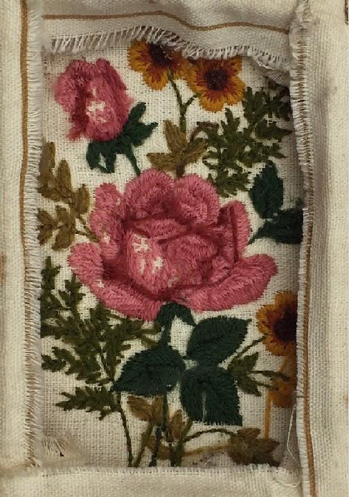 Back of Rose stitchery / A Dozen Rosey Life Lessons / www.HoneycombOasis.com