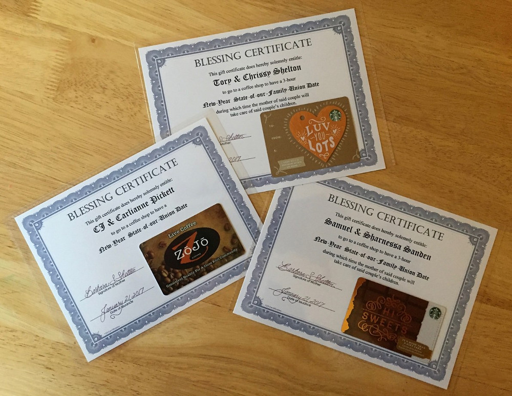 All three 3 Blessing Certificates  /  Looking Ahead to the New Year Dates  /  www.HoneycombOasis.com