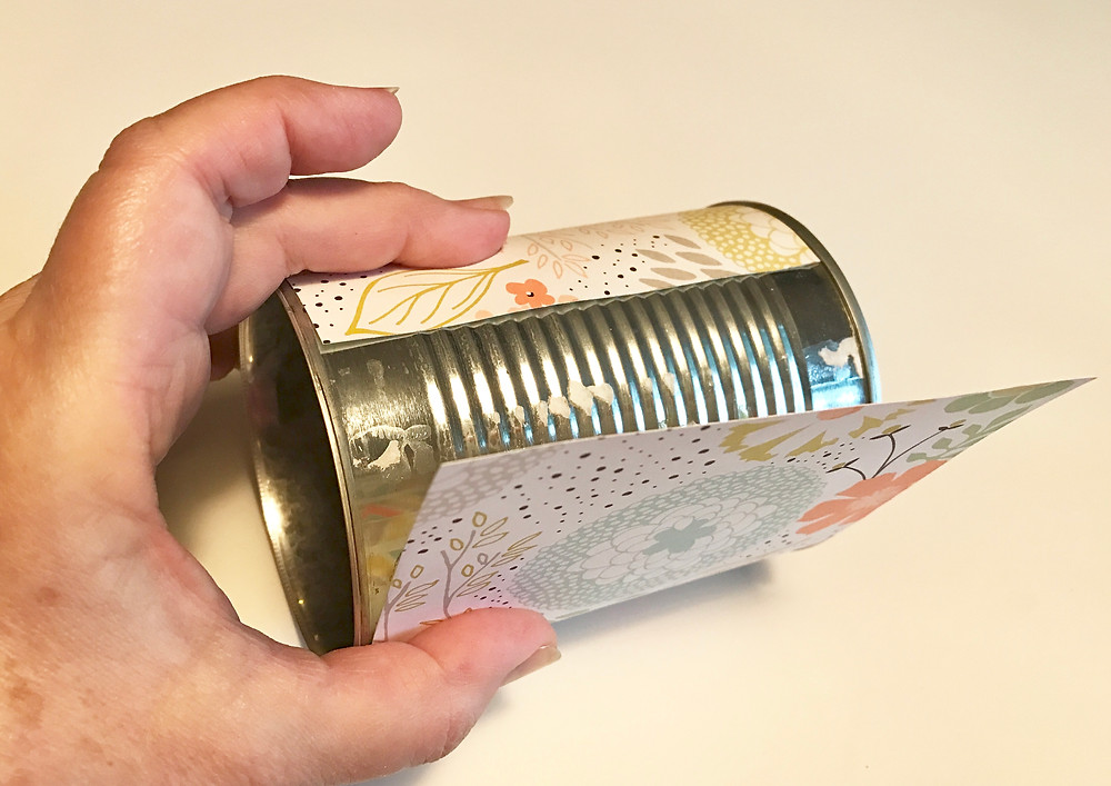Attaching the designer paper to the can / Gift-in-a-Can: Covering It (Part 2) / www.HoneycombOasis.com