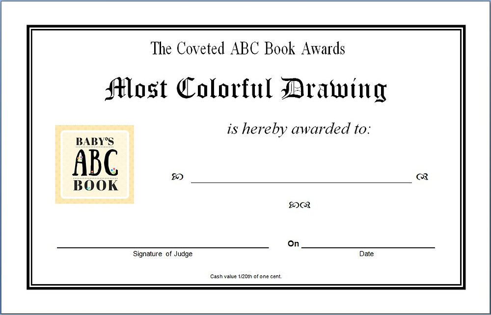 Larger sample of award for ABC Book / ABC Book to Make at a Baby Shower / www.HoneycombOasis.com