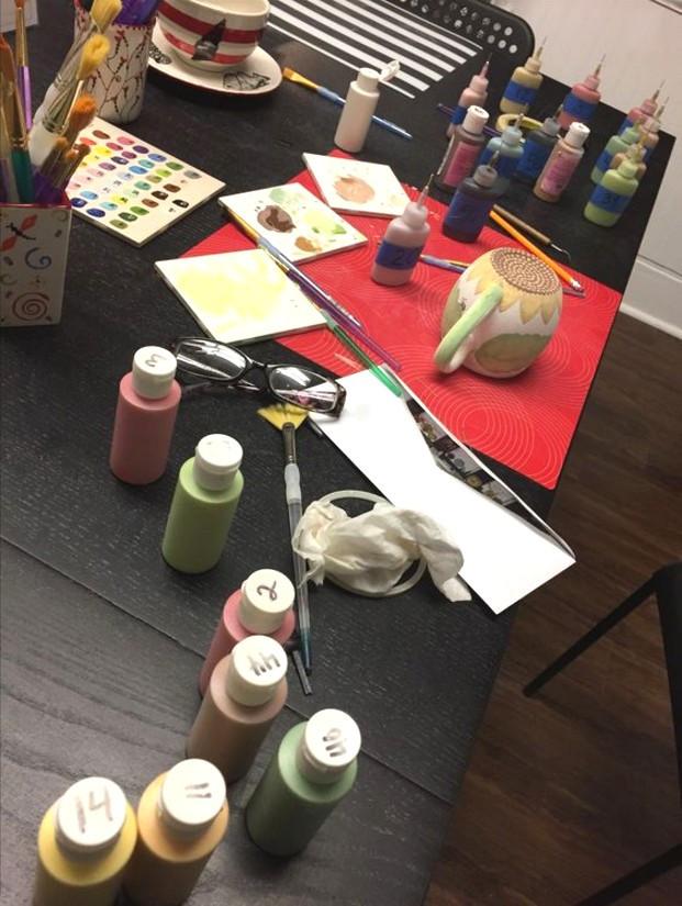The table with my ceramic mess, making my sunflower mug. / www.HoneycombOasis.com