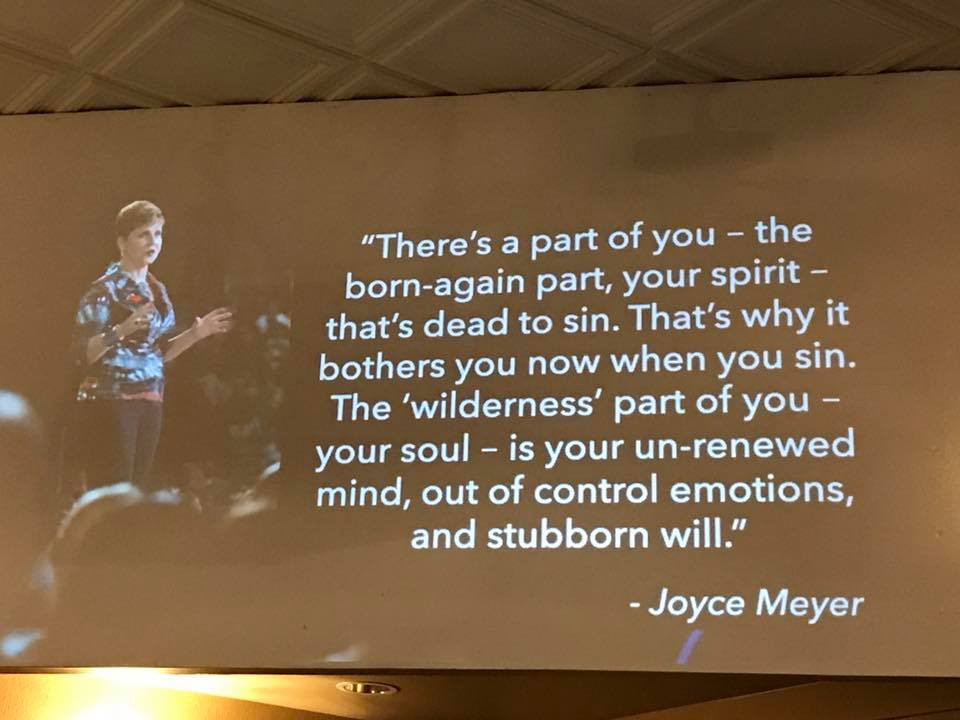 Quote of Joyce Meyer on screen at church / 15 Ways to Renew Your Mind Regarding Weight Loss / www.HoneycombOasis.com