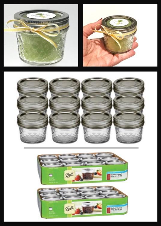 Mini 4-ounce canning jar collage / Make Your Own Lemongrass Bath Salts / HoneycombOasis.com