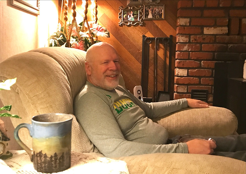 Dave sitting in chair at home, morning of last day / Cop's Last Shift & Final Sign-off / HoneycombOasis.com