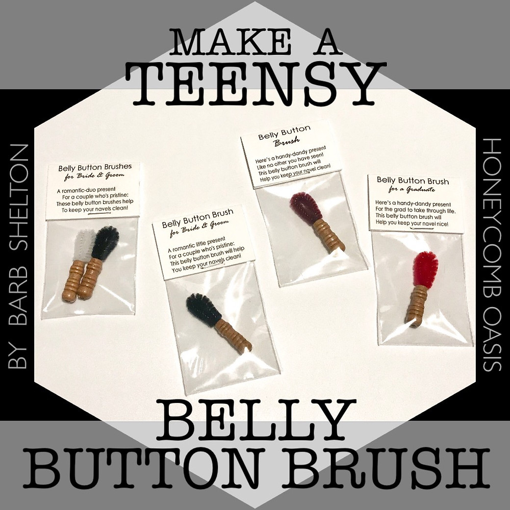 """Hexa-pic for """"Make a Teensy Belly Button Brush"""" blog article / www.HoneycombOasis.com"""