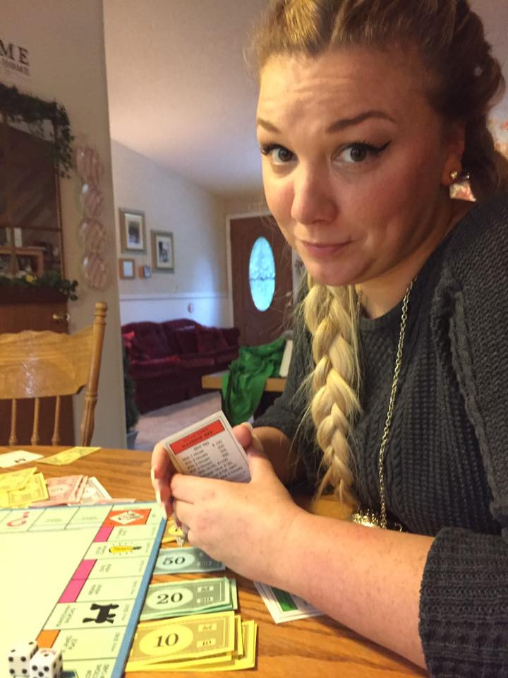 Carlianne looking at me dubiously / My Most Rousing Game of Monopoly. EVER! / www.HoneycombOasis.com