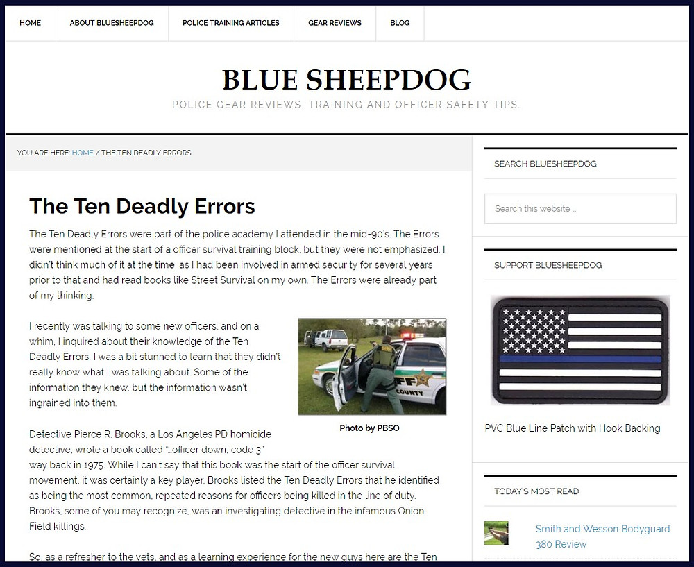 Screenshot of The Ten Deadly Errors website / The Dilapidated Police Clipboard / www.HoneycombOasis.com