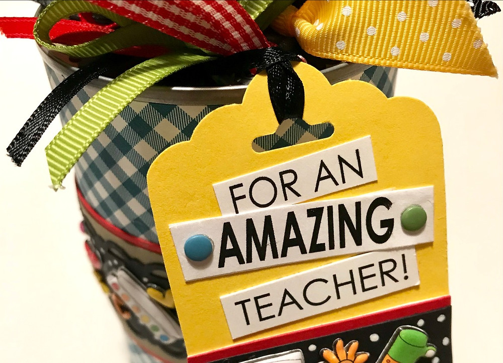 Top of tag for an amazing teacher, with words cut out / Gift-in-a-Can: Fill, Seal, & Tag It  (Part 4) / www.HoneycombOasis.com