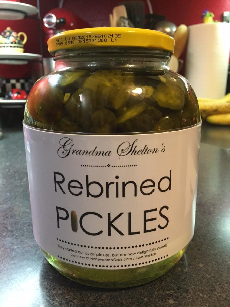 Jar of Gramma Shelton's Rebrined Pickles - www.HoneycombOasis.com