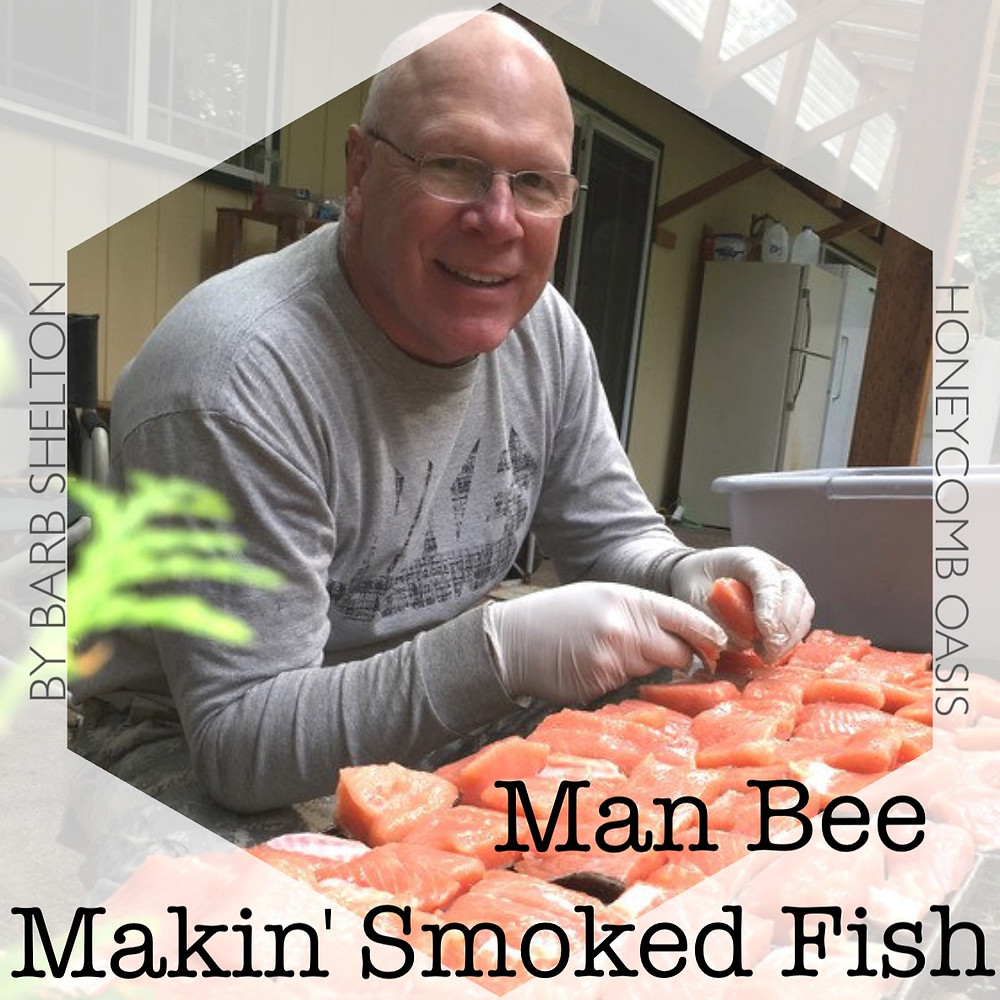Hexagon pic for Man Bee Makin' Smoked Fish / www.HoneycombOasis.com
