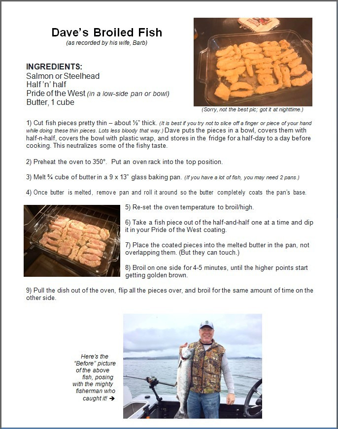 Screenshot of Recipe for Dave's Broiled Fish / Man Bee Cookin' Broiled Fish / www.HoneycombOasis.com