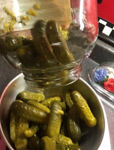Dumping pickles into bowl - Gramma Shelton's Rebrined Pickles - www.HoneycombOasis.com