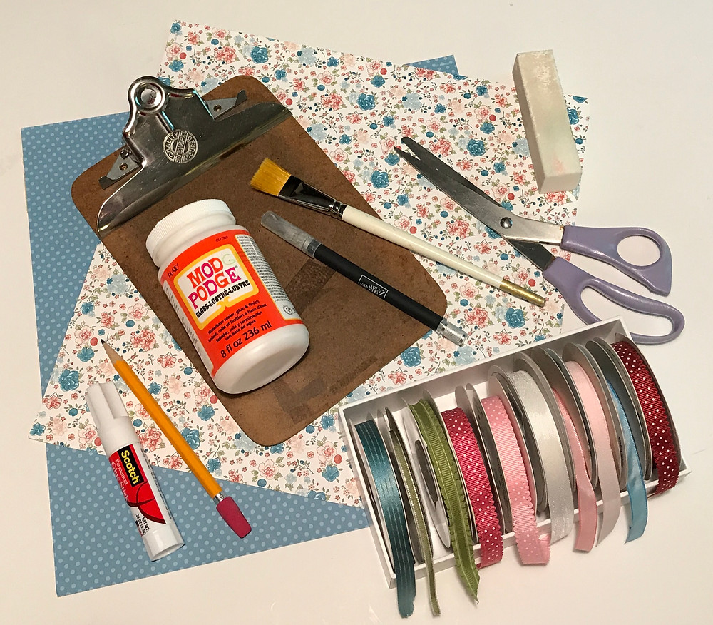Supplies to make my decorated clipboard / Setting Up for Success in Weight Loss / www.HoneycombOasis.com