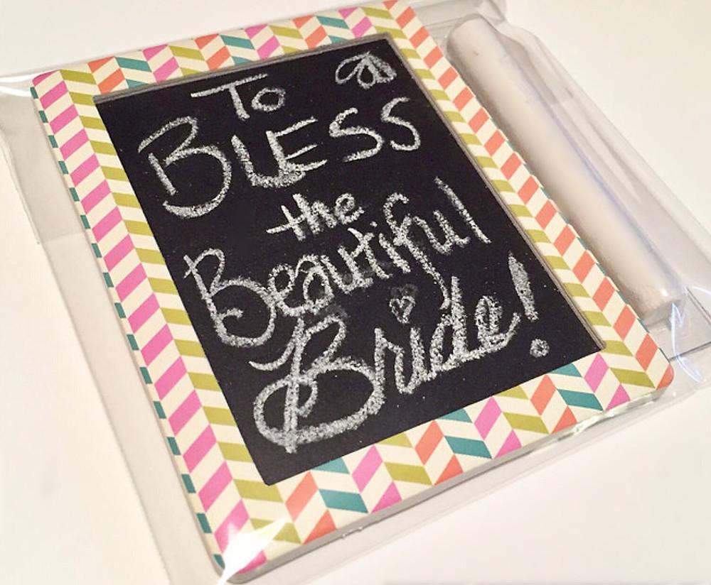 Mini chalkboard message for Breanna / Make a Bride Blessing Gift Bag / www.HoneycombOasis.com