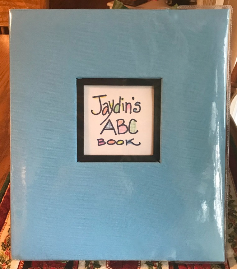 Jaydin's ABC Book cover / ABC Book to Make at a Baby Shower / www.HoneycombOasis.com