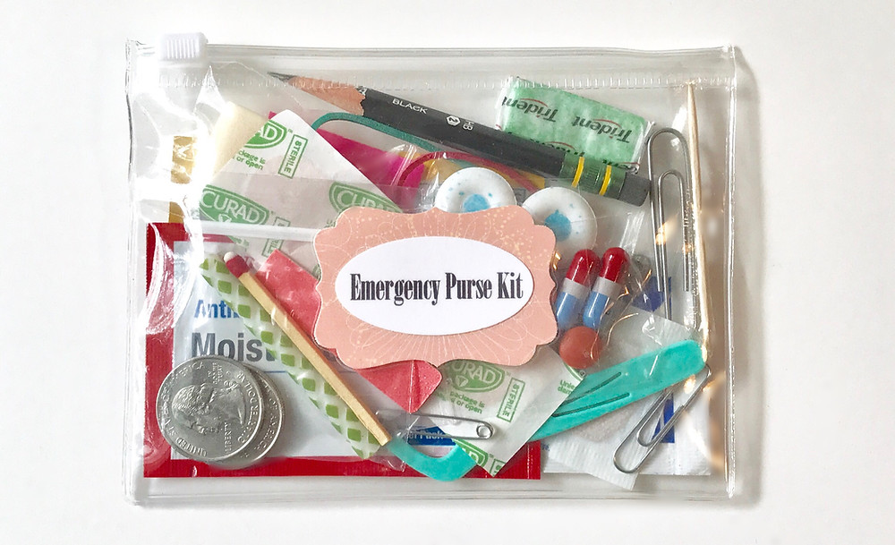 Emergency Purse Kit in a clear bag / How to Make an Emergency Purse Kit / www.HoneycombOasis.com