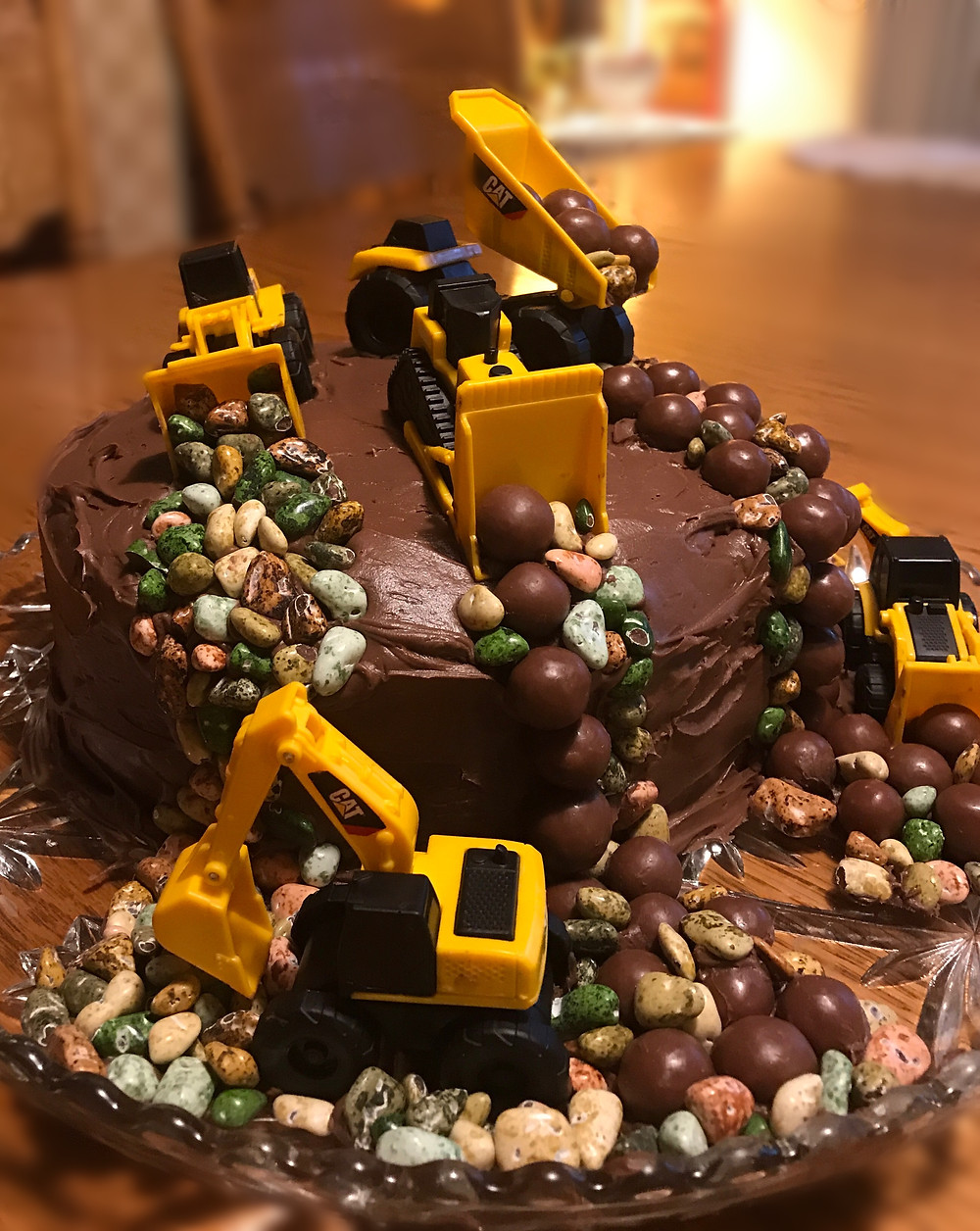 Close-up of cake on table / Make a Construction Site Cake! / www.HoneycombOasis.com