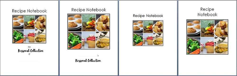 4 Recipe Notebook cover options (tiny) / Create Your Own Personal Recipe Notebook / www.HoneycombOasis.com