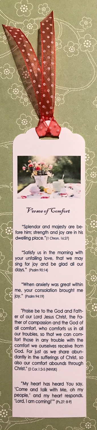 Bookmarker of Verses of Comfort / Gift-in-a-Can: Themes & Contents (Part 1) / www.HoneycombOasis.com