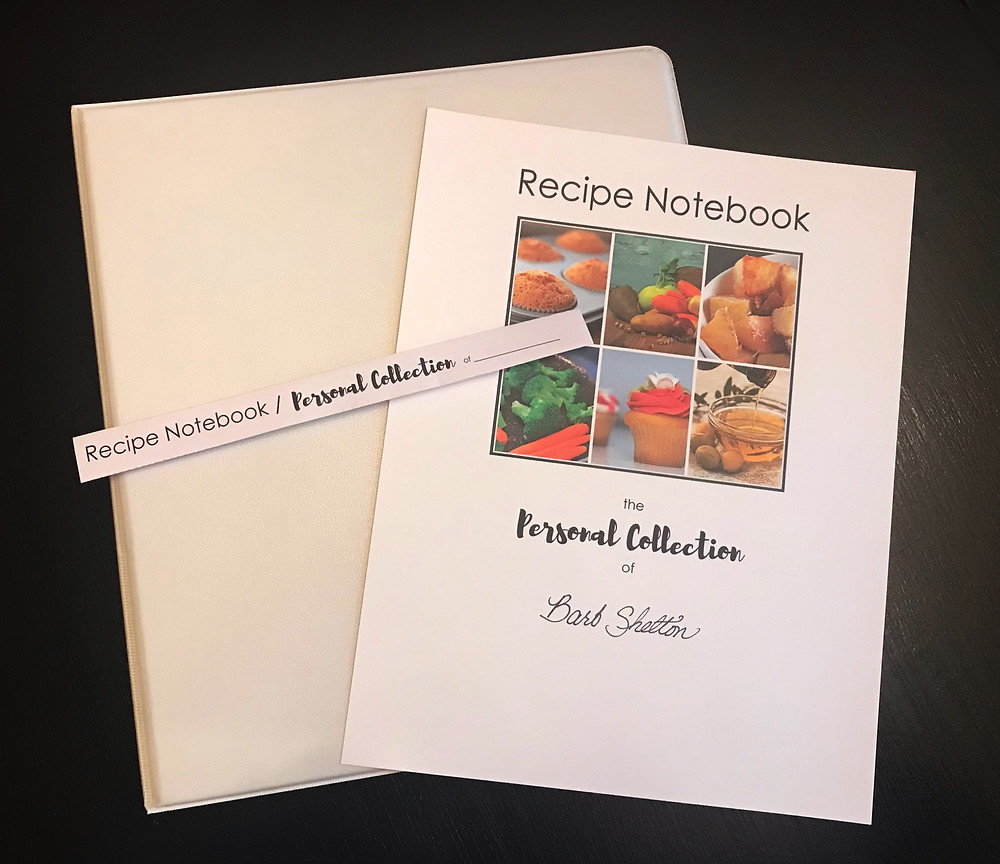 Recipe Notebook, cover page, and spine / Create Your Own Personal Recipe Notebook / www.HoneycombOasis.com