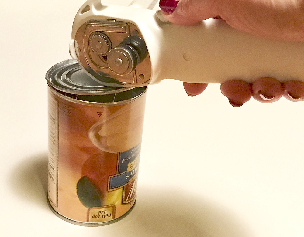 Opening the bottom of a can with the smooth-edge can opener / Gift-in-a-Can: Covering It (Part 2) / www.HoneycombOasis.com
