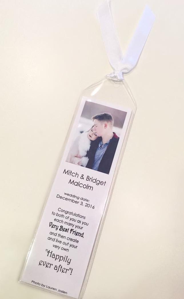 Bookmarker for Mitch & Bridget / Make a Bride Blessing Gift Bag / www.HoneycombOasis.com