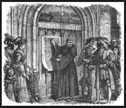 Martin Luther posting his 95 theses to the door of a Catholic church / 5 More Sayings I'd Love to Eliminate / www.HoneycombOasis.com