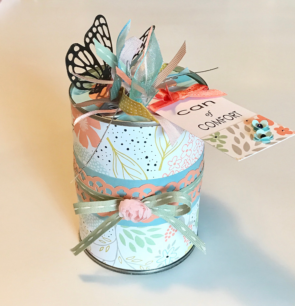 Can of Comfort - full can / Gift-in-a-Can: Decorating It  (Part 3) / www.HoneycombOasis.com